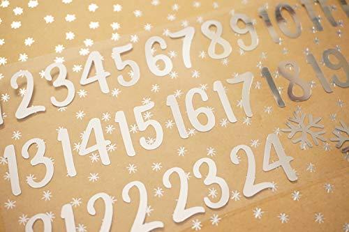 marinamalina adventskalender Zahlen aufbügeln Adventszahlen zum Aufbügeln Aufkleber Hotfix Bügelbild Textilaufkleber Glitterfolie Glitzerfolie bunt 24 Stück (Spiegel Silber, 45 mm)