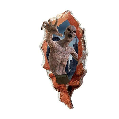 Canjerusof Halloween 3D-Türtapete Wand Horrifying Zombies Wandaufkleber Selbstklebendes Vinyl Removable Art Türaufkleber Halloween Eve Dekor