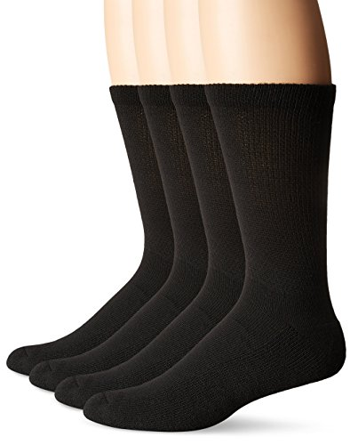 Dr. Scholl's Men's 4 Pack Diabetic and Circulatory Non-Binding Crew Sock, Black, Shoe Size:7-12