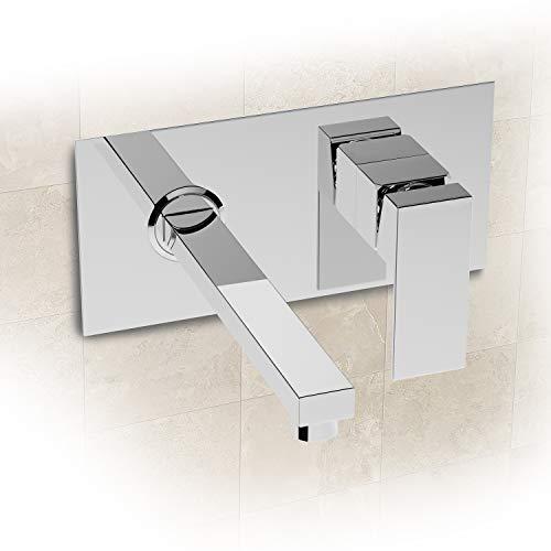 Rubinetto da parete per il bagno, montaggio a parete, 2 fori, rubinetto per lavabo, rubinetto con erogatore, rubinetto quadrato in cromo per lavabo, vasca da bagno