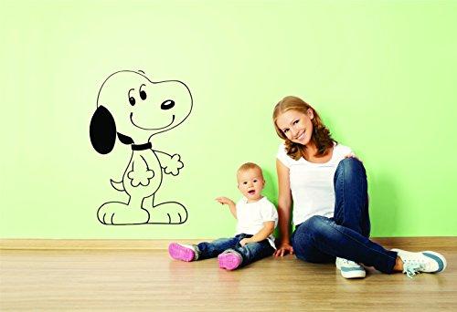 Wandtattoo, Motiv Charlie Brown und Snoopy, Vinyl, Peanuts-Motiv, für Kinderzimmer, Motiv: Patty Shermy Snoopy, Violett, Grau, Linus Van Pelt/Hände Größe 38,1 x 50,8 cm