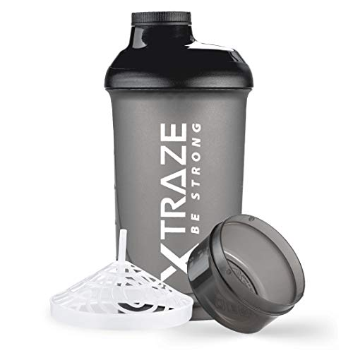 XTRAZE Protein Shaker 500 ml with Powder Compartment 150 ml, BPA free, Leak Proof Fitness Bottle with Measurements, Mixer with Sieve for Creamy Lump-Free Protein Shakes, Black