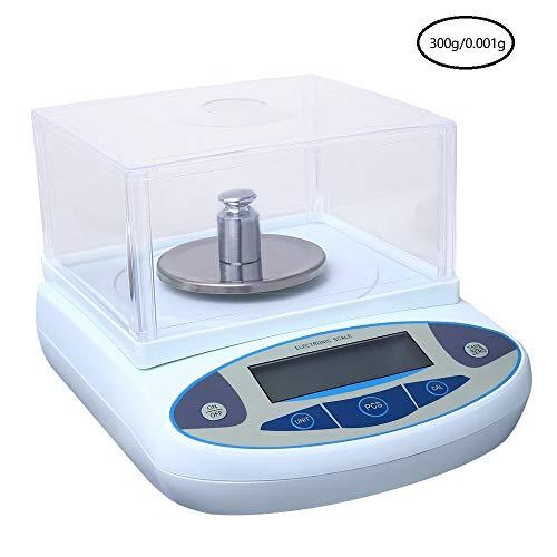 InLoveArts 0.001g Balanza Análitica de Laboratorio de Científica Electrónica Báscula Digital LCD 220V de Alta Precisión de Lab Joyería con Parabrisas Autocorrección (200/300/500g)