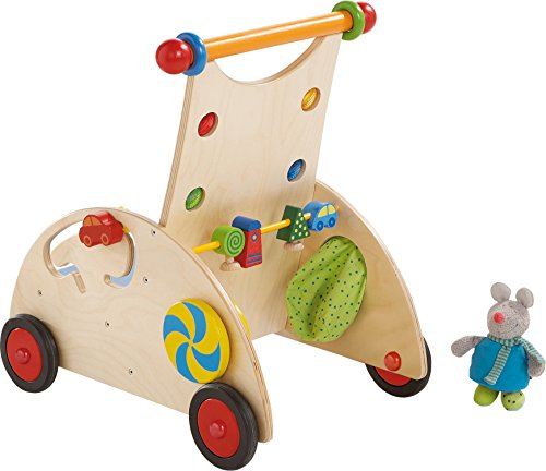 HABA 902 - Entdeckerwagen, stabiler Lauflernwagen aus Holz mit Stoffmaus, Mausversteck und vielen Spielmöglichkeiten, Holzwagen mit Sitzfläche, ab 10 Monaten