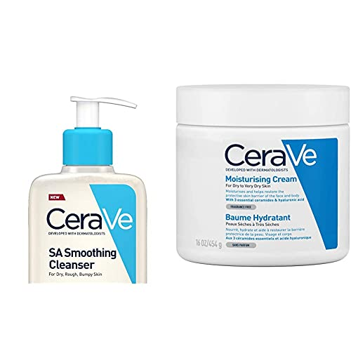 CeraVe SA Smoothing Cleanser   236ml/8oz   Face and Body Wash with Salicylic Acid & Moisturising Cream   454 g/16 oz   Daily Face, Body & Hand Moisturiser for Instant & Long-Lasting Hydration