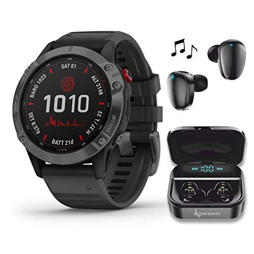 Garmin Fenix 6 Pro Solar Premium Multisport GPS Smartwatch with Included Wearable4U Ultimate Black Earbuds with Charging Power Bank Case Bundle (Slate Gray w/Black Band)