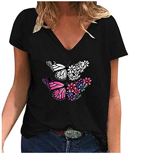 T-Shirt Frauen Casual Fashion Loose V-Ausschnitt Bedruckte kurzärmelige Tops (M,5Schwarz)