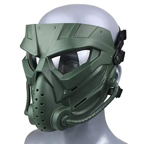 Wwman Paintball Airsoft Mask für den Außenbereich, verschleißfeste Taktische Vollgesichtsmaske mit Antibeschlaggläsern (WWZL3-OD-C)