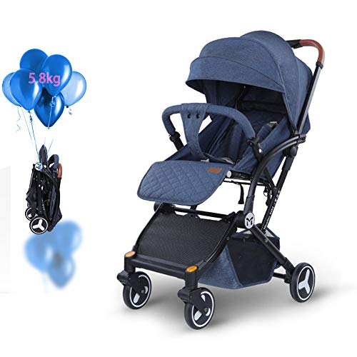 New HBIAO Folding Stroller, Baby Stroller High Landscape Suspension with 5-Point Safety System and M...