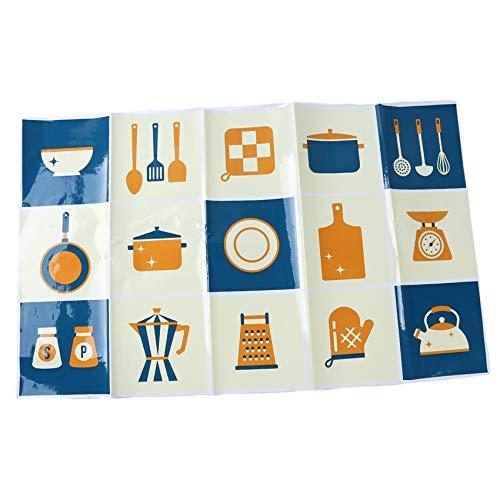 Generic JIFeng Küche Ölfeste Tapete, hochtemperaturbeständige Keramikfliesen Wandaufkleber für Wohnzimmer,Geschirrmuster