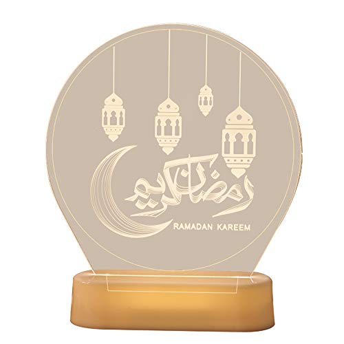 duoying Moon Star Lights Mubarak Ramadan Eid Lámpara de luz de luna, decoración del hogar para festivales de fiestas, suministros de iluminación, lámpara de mesa, luces LED de noche