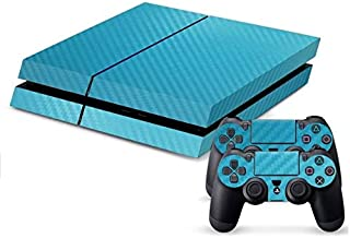 Carbon Fiber Decal Skin Cover Sticker For PS4 Console & Controller /Blue