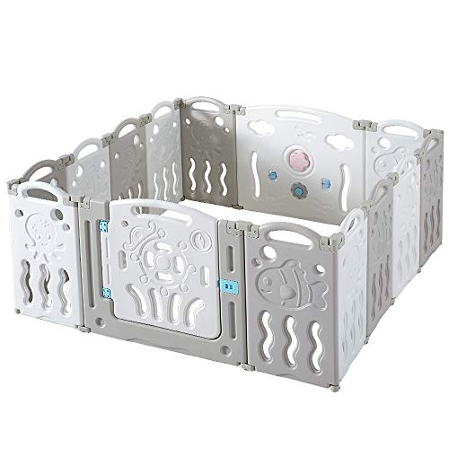 Albott Baby Playpen 14 Panels Foldable Kids Safety Play Yard - Game Panel and Gate with Safety Lock Adjustable Shape for Children Toddlers Indoors or Outdoors(Grey+White, 14 Panel)