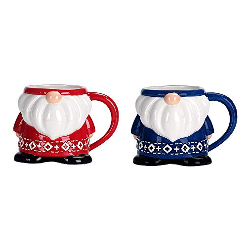 Bico Ceramic Red & Blue Christmas Gnome 15oz Mugs Set, Handpainted, Microwave & Dishwasher Safe