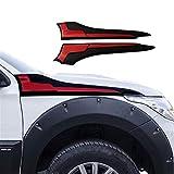 Yunjingchenman Lado de la tapa de cubierta de protección for Mitsubishi L200 Triton 2016-2019 Side Vent accesorios de la decoración (Color : Black red)