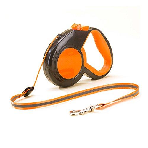 Alihoo Einziehbare Hundeleine, 8M Einziehbare Hundeleine, reflektierendes automatisches Teleskop-Zugseil, EIN-Knopf-Break & Lock, verheddert Sich Nicht, bis zu 30kg Orange