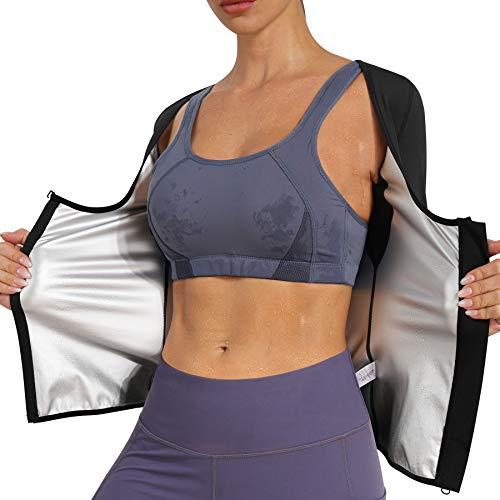 Nebility Women Sauna Sweat Suit Weight Loss Waist Trainer Shirt Workout Top Hot Sweat Jacket Zipper Long Sleeve Shaper Large Black