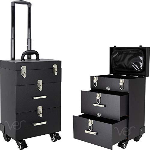 Ver Beauty Professional Rolling Makeup Train Case, Hair Stylist, Nail & Makeup Artist Travel Case, Faux Leather, Black