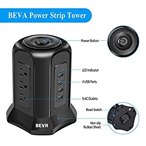 BEVA Power Strip Tower Surge Protector Flat Plug Desktop Charging Station with 9 AC Outlets 4 USB Ports Switch Control…