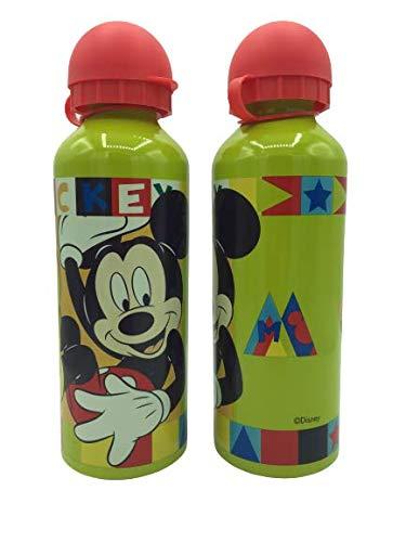 ML Una Botella de Agua de Aluminio Mickey mause, cantimplora a Prueba de Fugas sin BPA para Levar a la Escuela y Deportes el Termo 500ml para niños y niñas (Verde)