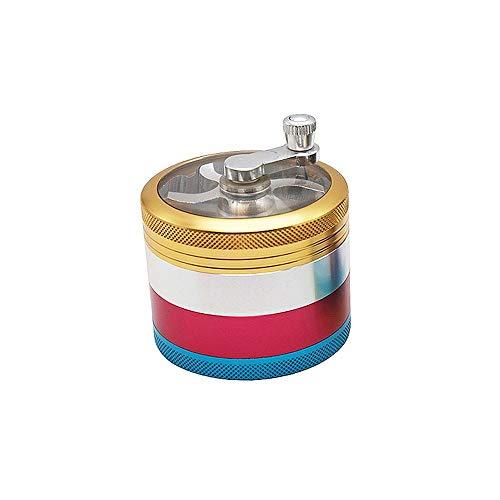 Best Buy! Hlake Herb Grinder, Zinc Alloy Hand-cranked Smoker 4-layer Color Matching Metal Grinding M...