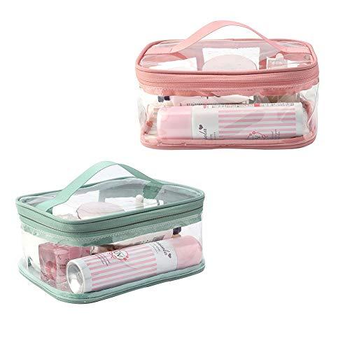 FHYT 2pcs Bolsa de Aseo Portátil con Cremallera Bolsas de Aseo Transparente Mujer Viaje Cosmeticos Neceseres Toiletry Bag PVC Transparente Bolsa de Maquillaje Cosméticos Organizador Impermeable