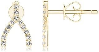 Diamond Wishbone Stud Earrings (0.7mm Diamond)