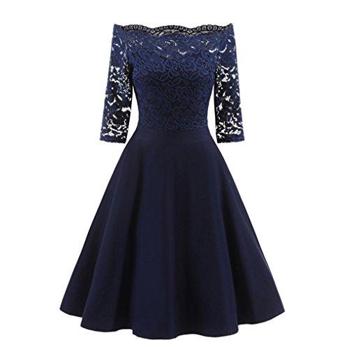 • • Luckycat Räumungsverkauf Damen Spitzenkleid für eine Neue Vintage Spitze Patchwork Schulterfrei Cocktail Party Retro Schaukel Kleid Swing Kleid Partykleid Cocktailkleid (Navy, EU 40-XL)