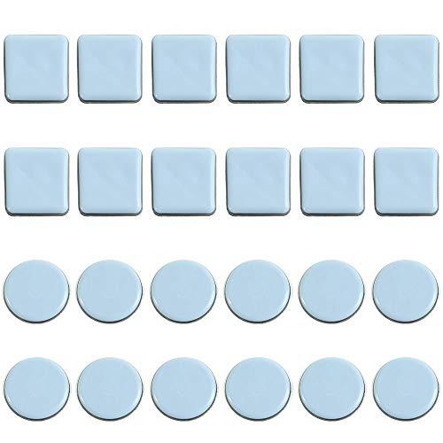 Dtoterul 24 piezas Deslizadores de Muebles Almohadillas para Mover Muebles Protectores de Piso die Deslizadores de PTFE 25MM Patín Deslizador para Muebles Redondo y Cuadrado para Silla Mesa Sofá