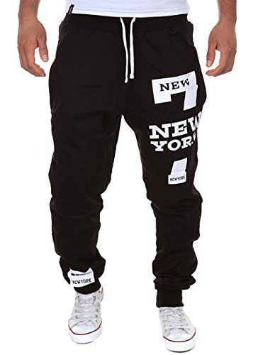 Cottory Men's Harem Casual Baggy Hiphop Dance Jogger Sweatpants Trousers Black X-Large