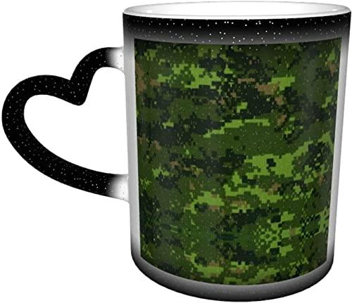 KEROTA Taza cambiante de color con diseño de camuflaje digital verde del ejército en el cielo, taza cambiante de color sensible al calor, regalo personalizado para familiares y amigos