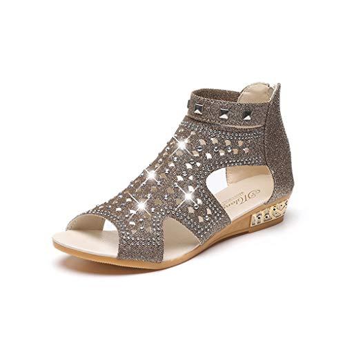 Sandalen Damen,Dorical Sommer Damenschuhe Frauen Keil Sandalen Mode Fisch Mund Hohl Roma Schuhe Elegant Rhein Fischkopf Mund Schuhe Fashion Durchbrochene Sandalen Stilvoll(Gold-1,37 EU)