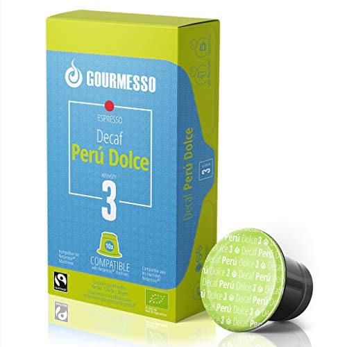 50 Peru Dolce Decaf Espresso Pods – Fair Trade Gourmesso Espresso Capsules Compatible with...