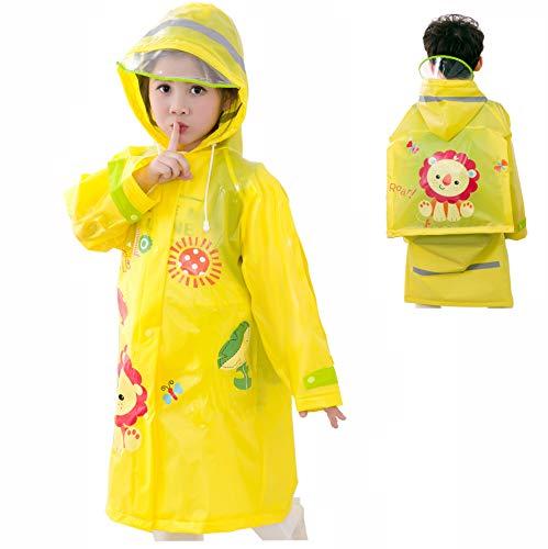 Rain Poncho for Kids, Cute Toddler Rain Coat Hooded for Girl Boys