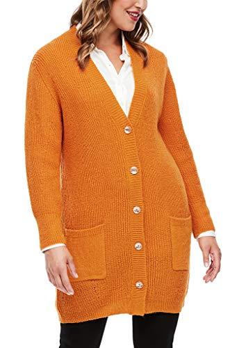 TRIANGLE Damen Strukturmix-Strickjacke mit Wolle saffron 44