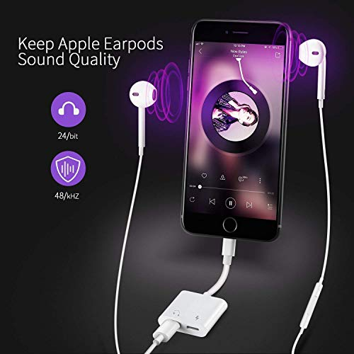 Headphones Adapter for iPhone 11 Dongle Aux Cord Aux Cable Headphone Jack Splitter 4 in 1 Aux Audio