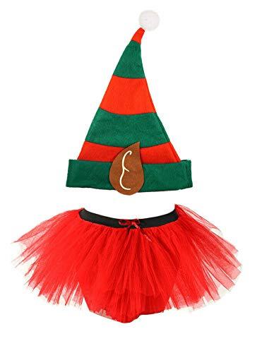 Wicked Fun - Costume da Babbo Natale per bambina, colore: Rosso/Verde Gonna a tutù rossa + cappello da elfo. Taglia unica