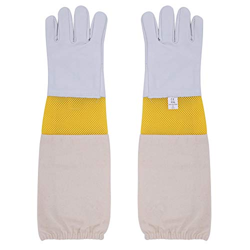 Beekeeping Gloves Bee Keeper Gloves - Premium Goatskin Leather Beekeeper Gloves with Protective Ventilated Long Canvas Sleeves & Elastic Cuffs for Beginner, Professional beekeeping supplies, XXL
