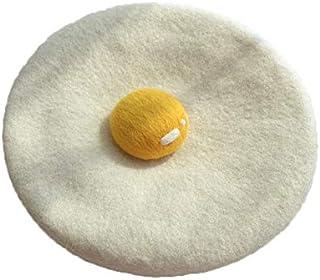 Speduckk Manual Wool Egg Yolk Beret Lovely Gift for Winter Poached Egg Berets Cap Hat for Women Girls White