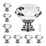 16Pcs 30mm Crystal Glass Cabinet Knobs Diamond Shape Pull Handle for Wardrobe Drawer Door Cupboard