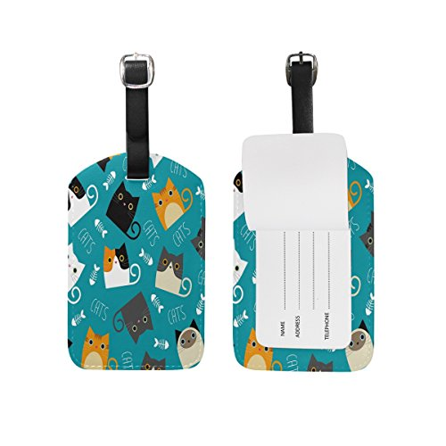 Use4 Funny Cat Kitten Luggage Tags Travel ID Bag Tag for Suitcase 1 Piece