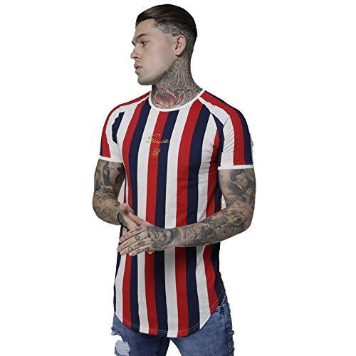 Sik Silk Camiseta Raglán de Rayas Rotativas Rojo y Marino/Blanco