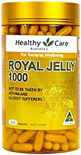 Healthy Care Royal Jelly 1000 mg 365 Cápsulas 100% Pure Royal Jelly Sistema Inmunológico Booster & Apoya la Salud y Vitalidad