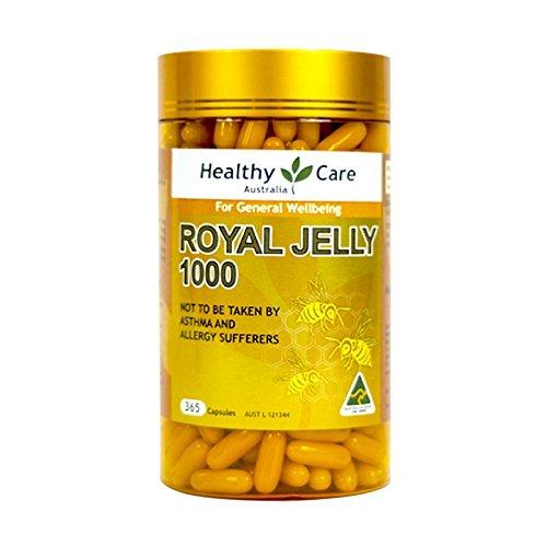 Healthy Care Royal Jelly 1000 mg 365 Kapseln 100% reines Gelee, Immunsystem Booster & unterstützt die Gesundheit der Haut & Vitalität, hergestellt in Australien, mit einem Knoten-Geschenk