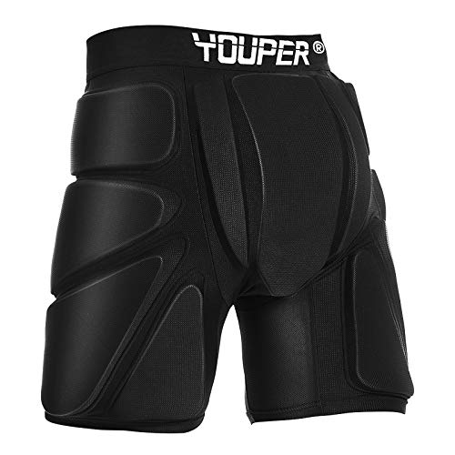 Youper Protective Padded Shorts for Ski, Snowboard, Skate & Roller Sports, 3D Protection for Butt, Hip & Tailbone (Black, X-Large)