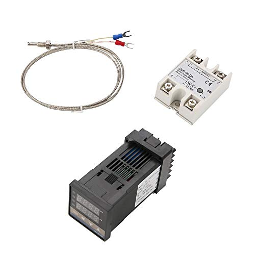 Controlador Digital de Temperatura PID Termostato REX-C100 + SSR Relé Max 40A + K Termopar Tipo