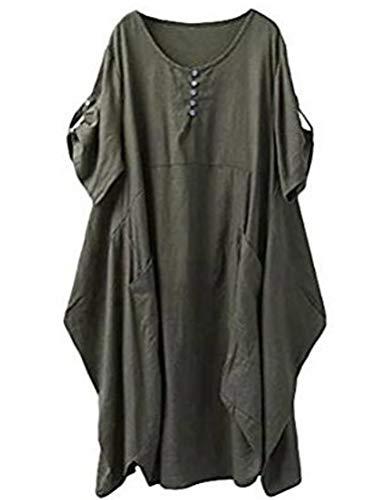 Lavnis  Damen Leinen T-Shirt Tunika Kleid Rundhals Kurzarm Midi Kleid, XXL, Armeegrün