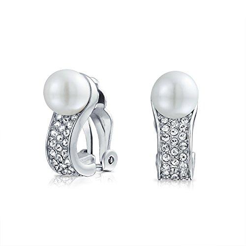 Cristal Nupcial Blanco Perla Simulado Huggie Pendiente Mujer En Clip Mujer No Oreja Perforada De Latón Chapado En Plata