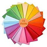 72 Fogli di Carta Velina - 18 Colori Carta Colorata, Carta da Imballaggio Riciclata Artigianale Fogli da Regalo, Carta Velina Riutilizzabile Colorata per Decorazioni Natalizie e Feste di Compleanno
