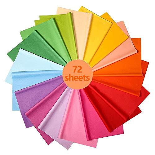 72 Blätter 18 Farben Buntes Papier - Seidenpapier Bunt, Buntes Papier Seidenpapier Farbig für Dekoration Diy Design, Geschenk Seidenpapier Sortiment Tissue Paper Set zum Verpacken